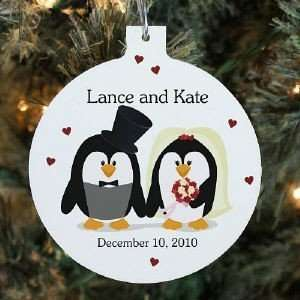 Personalized Couples Wedding Christmas Ornament Penguin