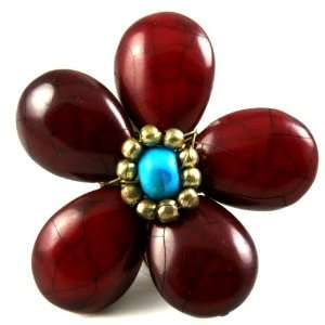 Red Glass Beaded Flower Fashion Ring Antique Gold Tone, 7 Jewelry