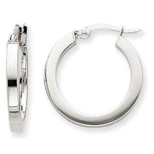 14k White Gold Square Tube Hoop Earrings Jewelry