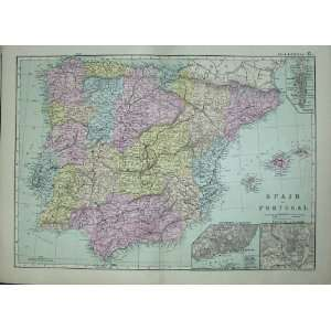Bacon World Atlas 1891 Map Spain Portugal Madrid Lisbon