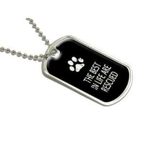 Best In Life Rescued   Paw Print   Military Dog Tag Luggage