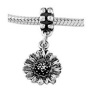 Sterling Silver Big Wild Sunflower Dangle Bead Charm Jewelry