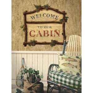 Pinecone Welcome Sign Personalized Peel and Stick Wall Mural