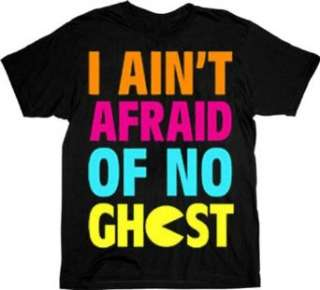 Pac Man I Aint Afraid of No Ghost Black Adult T shirt Tee