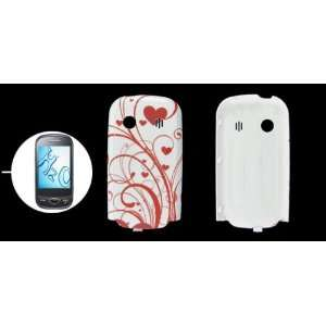 Gino White Red Heart Pattern Hard Plastic Back Faceplate for Samsung