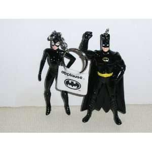 Batman Returns Batman and Catwoman Official PVC 3 Keychain Figures