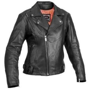 River Road Caliber & Sapphire Black Leather Motorcycle Jacket (Mens