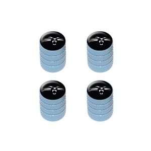 Panther Face   Tire Rim Valve Stem Caps   Light Blue