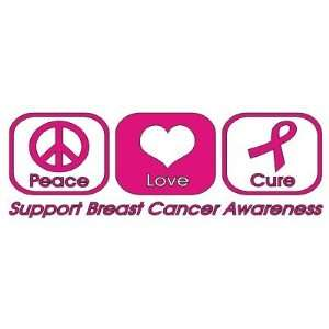 Peace Love Cure Decal/Sticker breast cancer awareness, Pink
