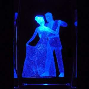 Cinderella and Prince 3D Laser Etched Crystal includes Two