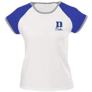 Duke Blue Devils White Ladies Diamond T shirt Sports