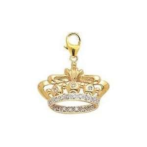 Crown, 14K White Gold Diamond Charm Jewelry