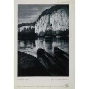 1935 Lake Canoes Cliffs Original Black/White Print