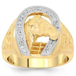 14K Yellow Gold Mens Diamond Horseshoe Ring 0.25 Ctw