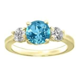 2.85 Ct Blue Topaz & White Diamond 14K Yellow Gold Ring