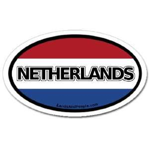 Netherlands and Dutch Flag Car Bumper Sticker Decal Oval