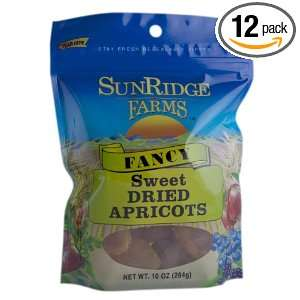 Sunridge Farms Fancy Sweet Dried Apricots 10 Ounce Bags (Pack of 12)