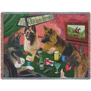 German Shepherd Throw Blanket Four Dogs Playing Poker 50 x 60: