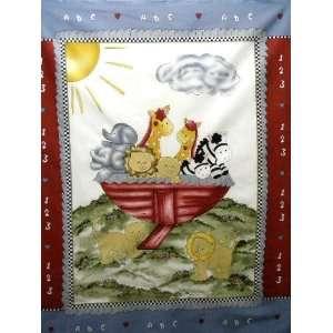 Noahs Ark Baby Panel Fabric Quilt Top Material New Burgundy/Grey BP 4