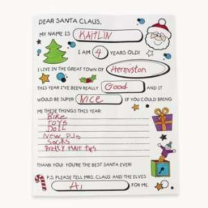 Color Your Own! Letter To Santa   Pkg of 50: Health