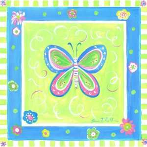 The Kids Room Butterfly with Blue and Green Border Square