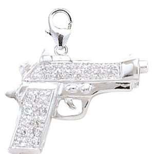 14K White Gold 1/10ct HIJ Diamond Gun Spring Ring Charm