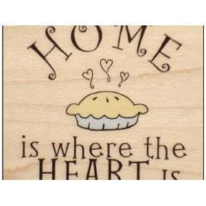Rubber Stampede Wood Mounted Stamp HOME IS WHERE THE HEART