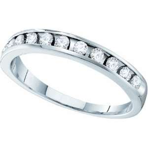 Ladies 14k White Gold .25 Ct Round Cut Diamond Wedding Engagement Band