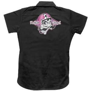 Lethal Threat Womens Girl Skull Work Shirt, Size: Lg