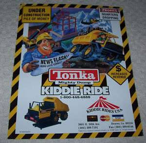 TONKA MIGHTY DUMP TRUCK KIDDIE RIDE FLYER BROCHURE