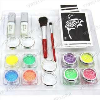 UV Glitter Tattoo Kit 8 UV Powder/Glue Tube/Brush Art