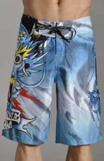 Ed Hardy Mens Blue Alive Board Shorts Size 34 Authentic Dragon