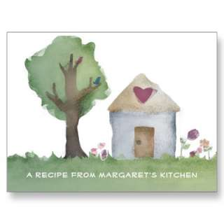 Heart house home cooking recipe cards postcard by chefcateringbizcards