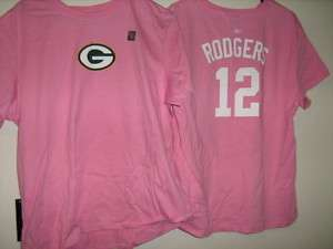 Aaron Rodgers Pink Name And Number T Shirt Ladies