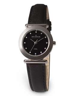 Skagen Denmark Watch, Womens Black Leather Strap 107SSLB   Watches