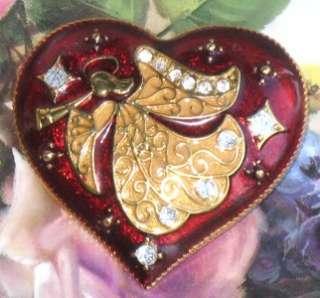 MONET VINTAGE STYLE CHRISTMAS HEART ANGEL BROOCH PIN