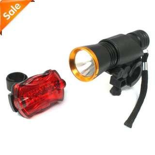 Flashlight Torch Lamp Bike Cycling Bicycle+LED Rear Light Gold New