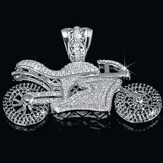 Rhodium Plated Micropave White/Black CZ Motorcycle Pendant Bling Charm