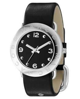 Jacobs Watch, Womens Black Leather Strap MBM1140   Straps