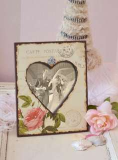 Shabby Cottage Chic Roses Picture Frame Heart Valentines Day Gift