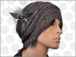 AM127 Strip Knit Cotton Snowboard Men Beanie Hat Black