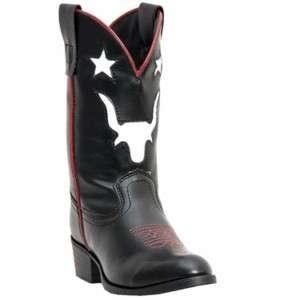 NEW Childrens Laredo Cowboy Boot Black Steer/Star Inlay