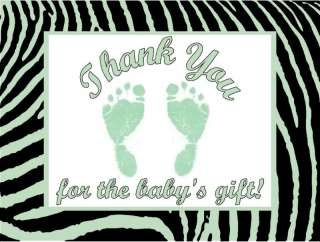 Zebra Print Green Feet Baby Shower Thank You Cards Personalized