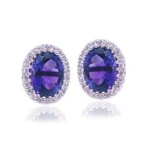 14 KT WHITE GOLD OVAL CUT AMETHYST DIAMOND EARING ON HALO Jewelry