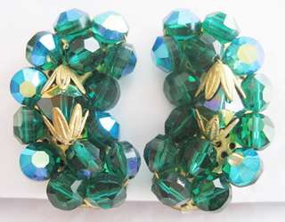Vintage FACETED EMERALD Green AB CRYSTAL Clip EARRINGS
