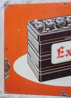 VINTAGE EXIDE CAR BATTERY PORCELAIN ENAMEL SIGN C1940S DEALERS