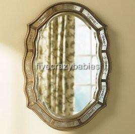 Victorian Venetian Etched Frameless Wall Mirror Antique