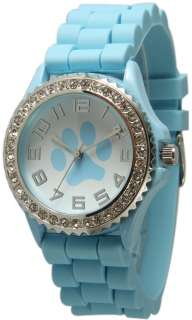 NEW Geneva Paw Light Blue SILICONE RUBBER JELLY WATCH With CRYSTALS
