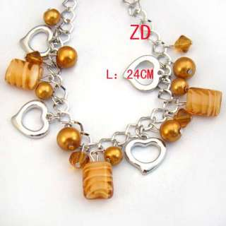 A0211 Lampwork glass Crystal Pearl beads Heart Bracelet