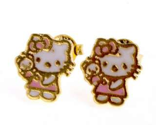 Set Gold 18k GF Bracelet Earrings Necklace Pink Teddy Bear Hello Kitty